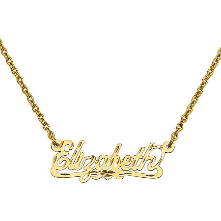 Personalized 12x35mm Diamond Cut Scroll Name Necklace, One Size , Yellow