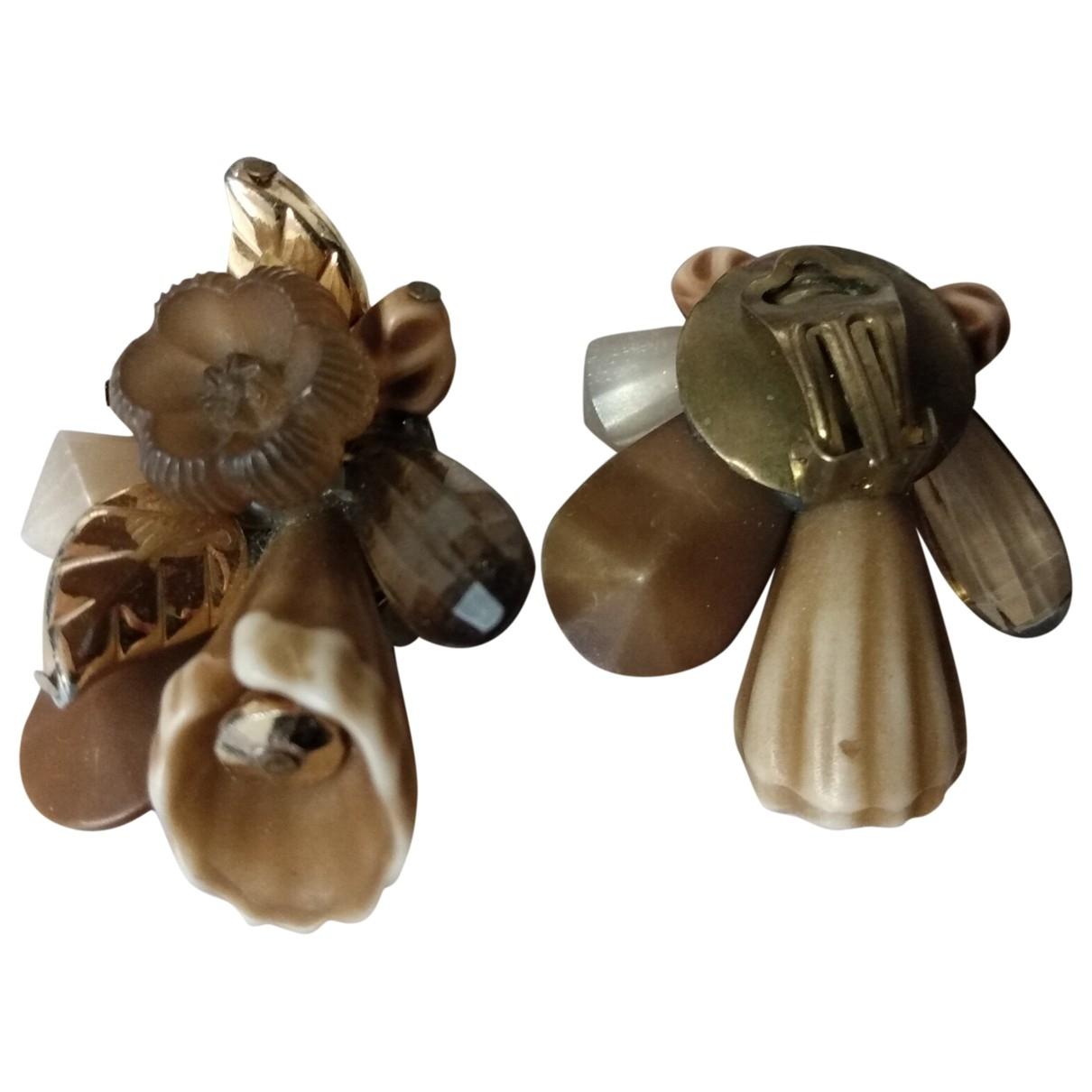 - Boucles doreilles Motifs Floraux pour femme - marron
