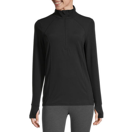 Xersion Womens Mock Neck Long Sleeve Quarter-Zip Pullover, X-large , Black