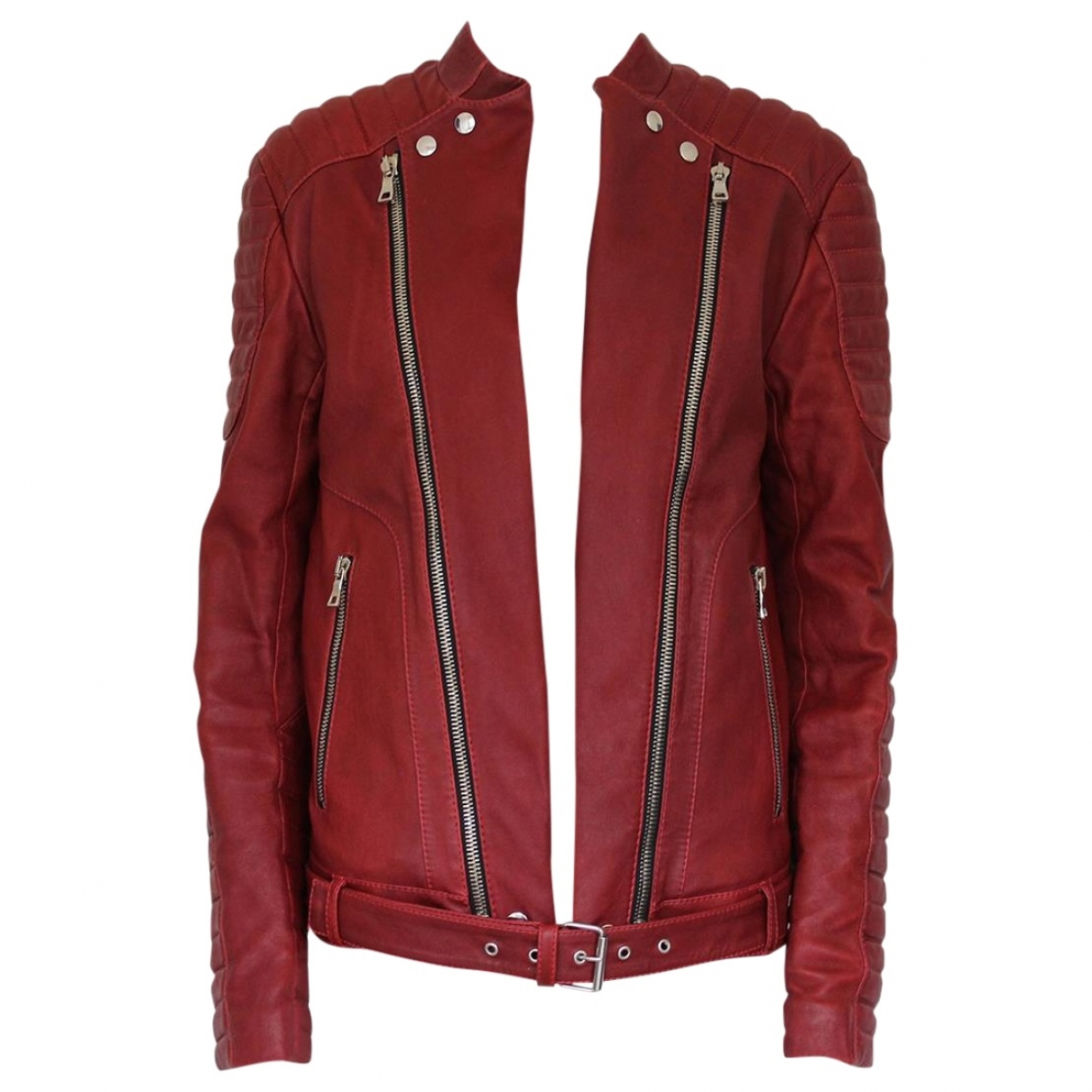 Balmain \N Red Leather jacket  for Men 52 IT