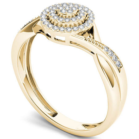 Womens 1/6 CT. T.W. Genuine White Diamond 10K Gold Engagement Ring, 6 1/2 , Multiple Colors
