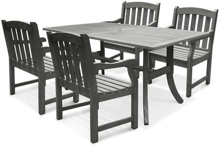 V1300SET6 Renaissance Serie Outdoor 5-Piece Patio Dining Set with 1x V1300 Table + 4x V1295 Chairs  Made From Acacia Hardwood  Multi-Resistant