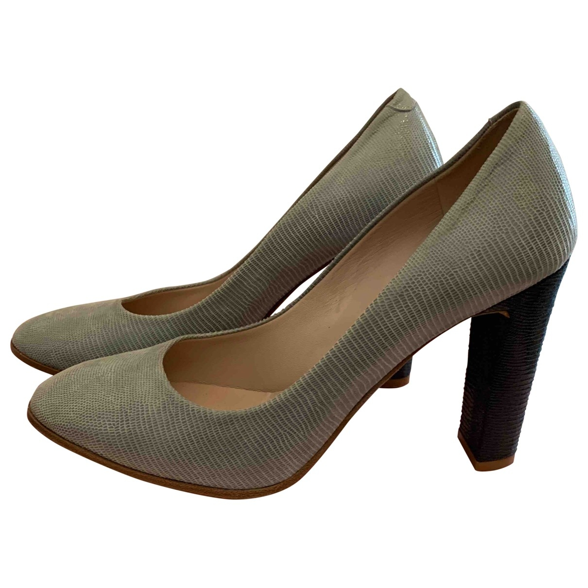 Non Signé / Unsigned \N Grey Leather Heels for Women 40 EU