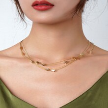 Mehrschichtige Halskette mit Herzen Dekor