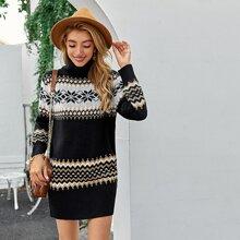 Pullover Kleid mit Rollkragen und Fair Isle Muster