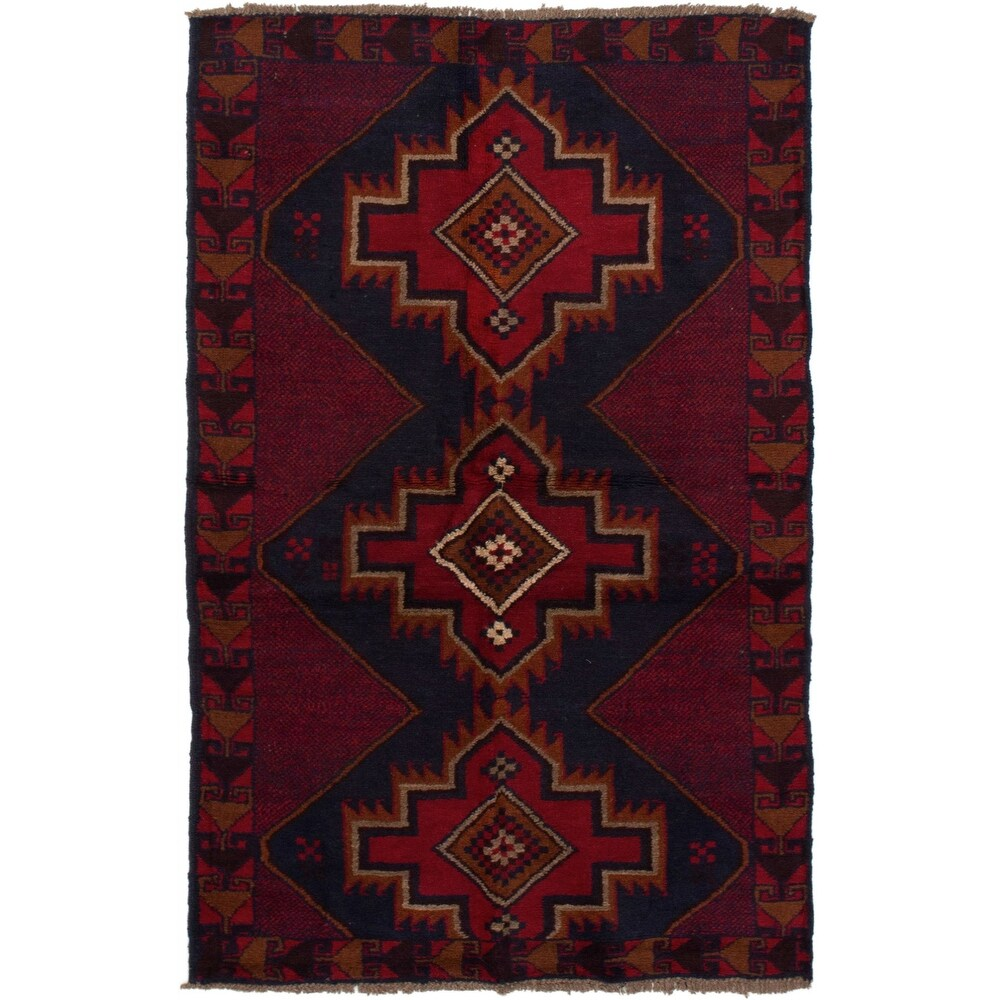 ECARPETGALLERY Hand-knotted Teimani Red Wool Rug - 3'3 x 6'0 (Red - 3'3 x 6'0)