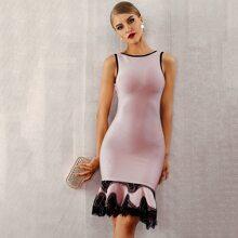 Adyce Rueckenfreies Bandage Kleid mit Spitzenbesatz und Fischschwanz Saum