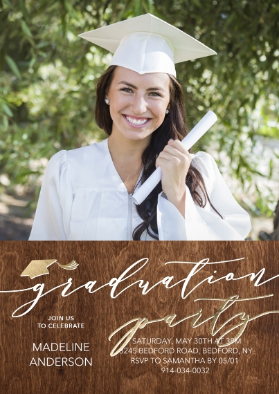 Graduation Invitations Flat Matte Photo Paper Cards with Envelopes, 5x7, Card & Stationery -Graduation Party Script by Tumbalina