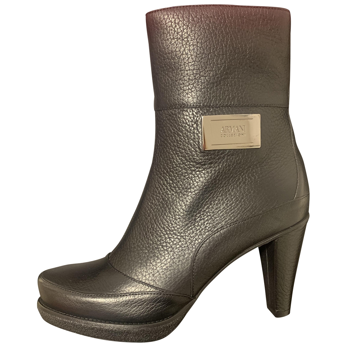 Armani Collezioni \N Black Leather Ankle boots for Women 39 EU
