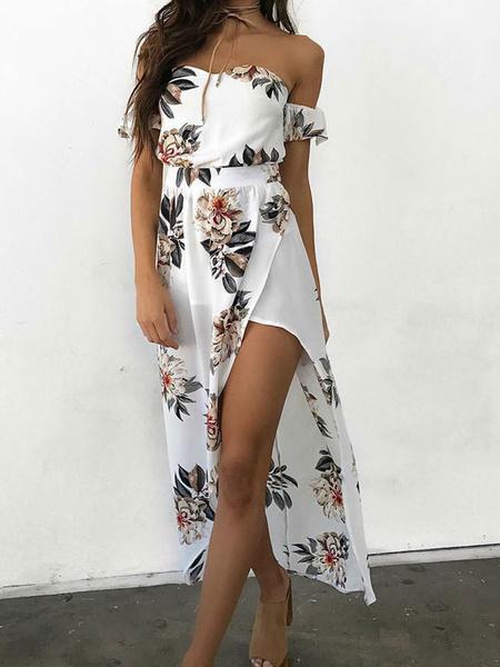 Milanoo Vestido largo blanco  con manga corta de chifon con abertura lateral con estampado de flores De espalda baja con escote de hombros caidos