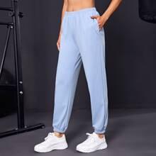 Solid Slant Pocket Sports Pants