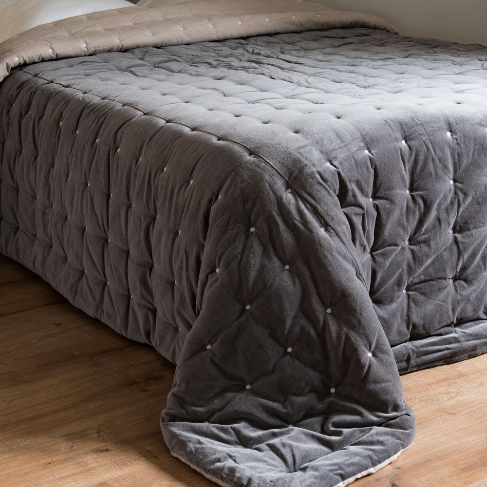 Quilt aus grauem Pikee-Samt 240x260