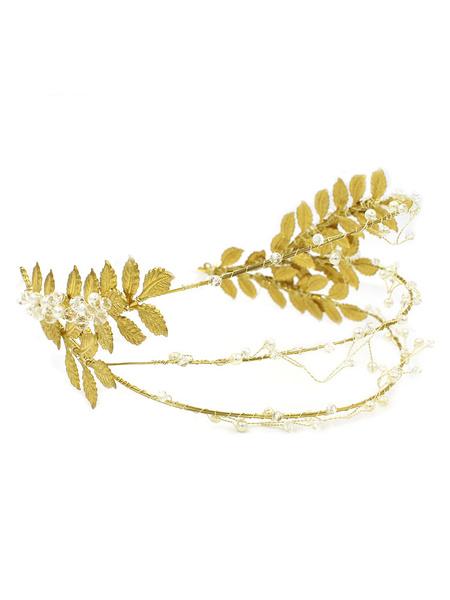 Milanoo Gold Wedding Headpieces Leaf Headband Triple Beading Bridal Hair Accessories
