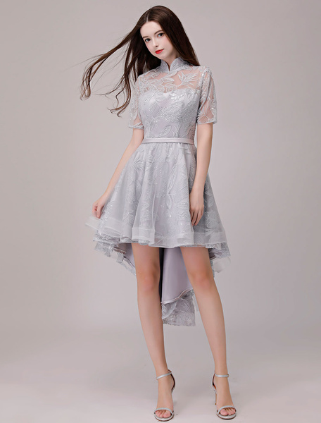 Milanoo Cocktail Dresses Lace Applique Half Sleeve Stand Collar Light Gray Asymmetrical Party Dress