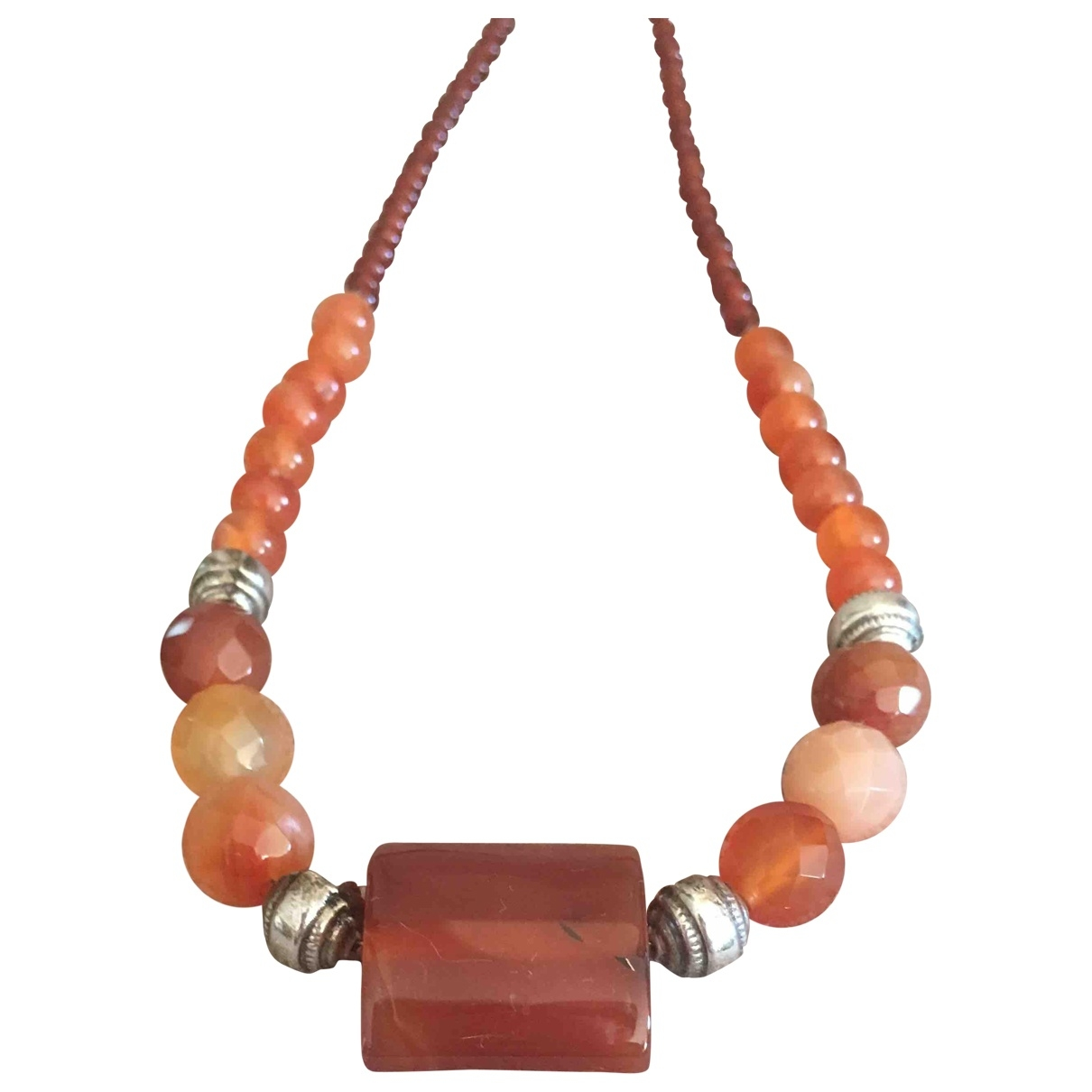 Non Signé / Unsigned \N Brown necklace for Women \N