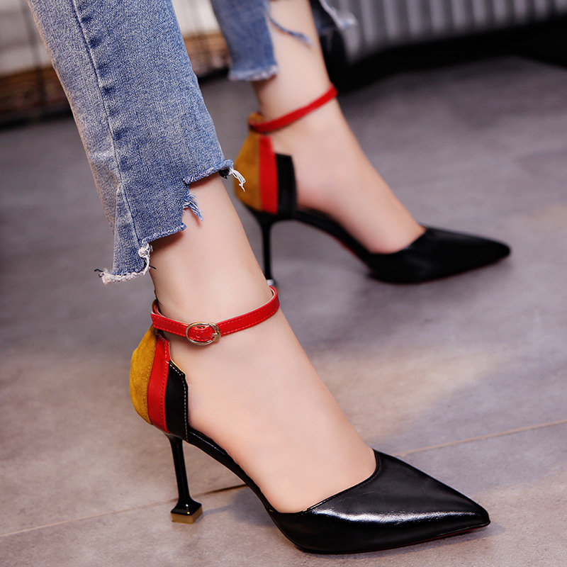 Women Color Matching Buckle Strap Pointed Toe Pumps