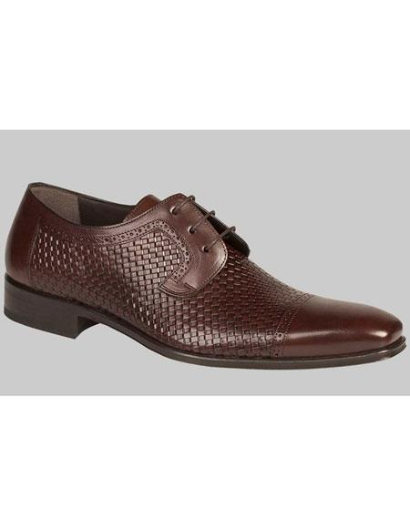 Mens Brown Woven Calfskin Cap Toe Lace Up Leather Shoes Mezlan Brand