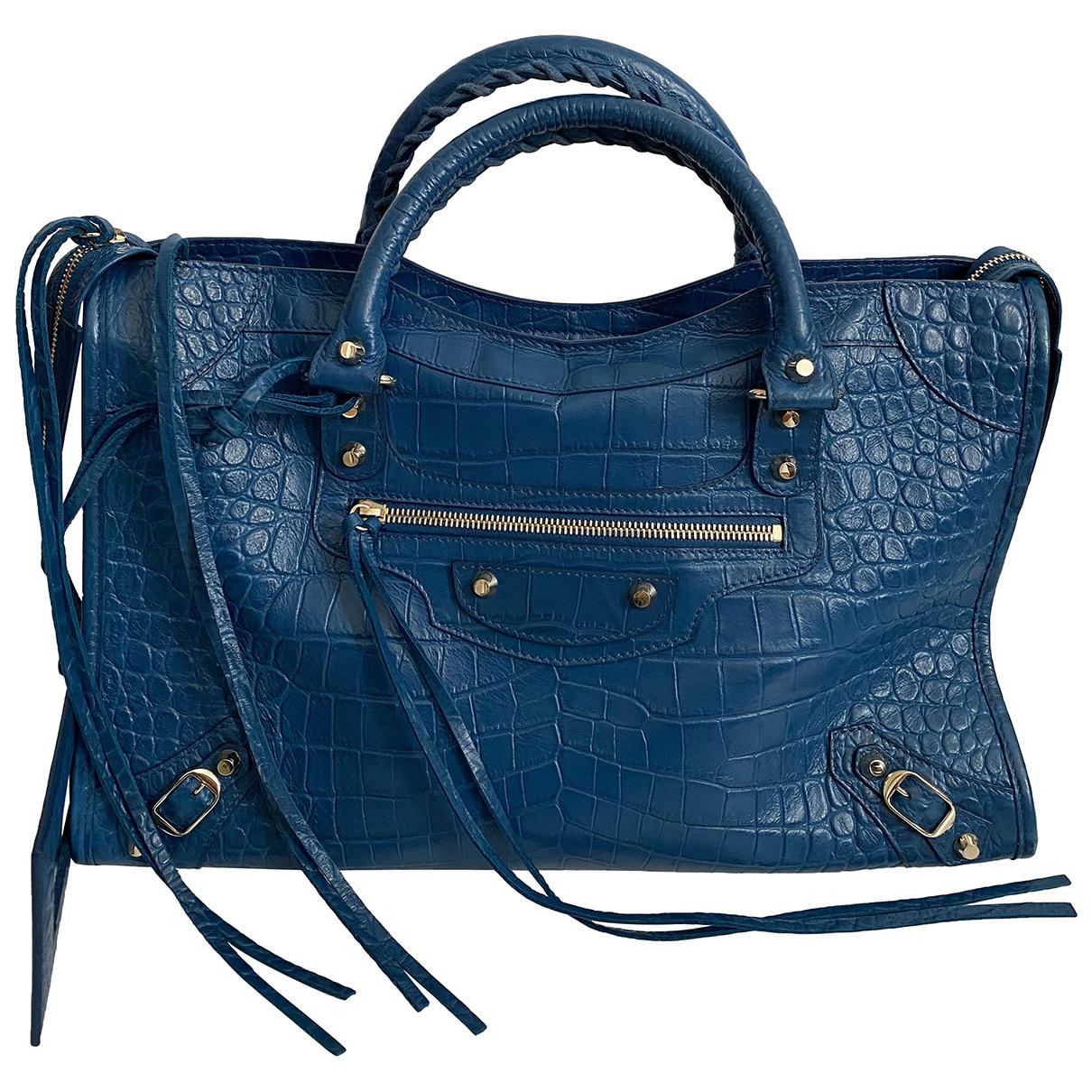 Balenciaga Classic Metalic Blue Leather handbag for Women \N