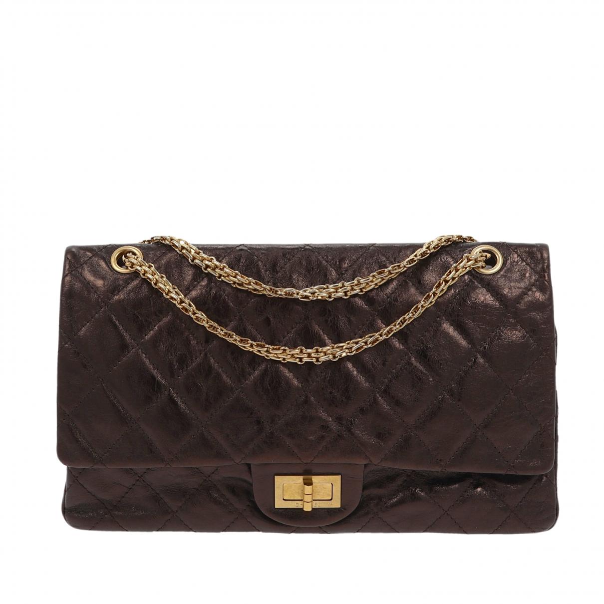 Chanel - Sac a main 2.55 pour femme en cuir - metallise