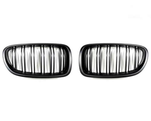 AutoTecknic Stealth Black Front Grille Dual Slats BMW 5 Series F10 11-16