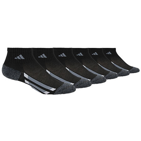 adidas Big Boys 6 Pair Quarter Socks, Medium , Black