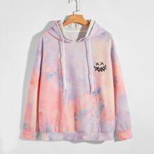 Men Tie Dye Smiley Print Drop Shoulder Sweatshirt