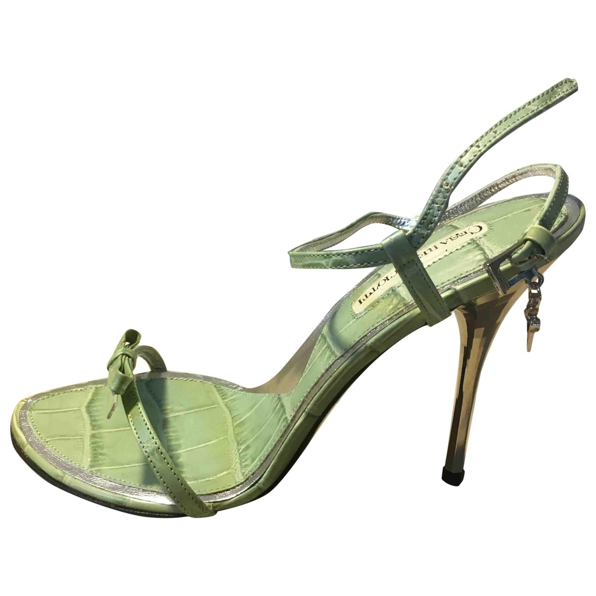 Cesare Paciotti \N Green Leather Sandals for Women 36 IT