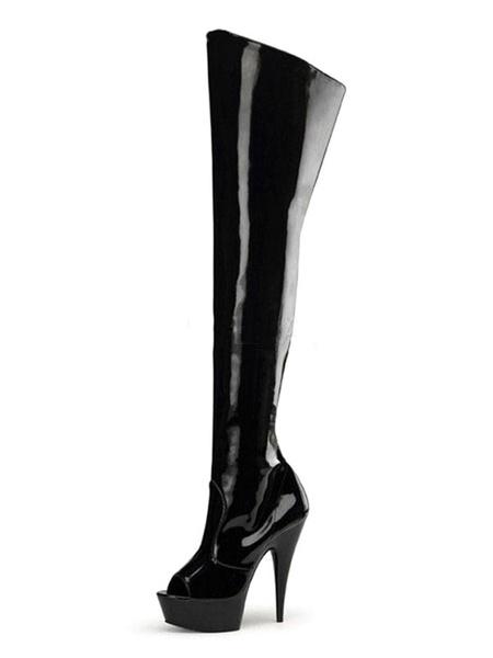 Milanoo Botas de tacon alto sexy Botas negras de tacon de aguja negro sobre la rodilla para mujer