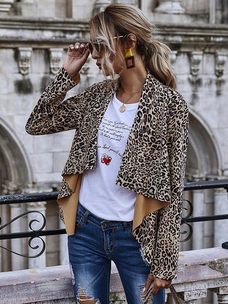 Milanoo Women Short Jackets Leopard Print Long Sleeve Irregular Jacket