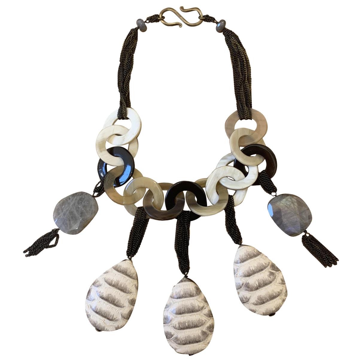 - Collier Motifs Ethniques pour femme en corne - ecru