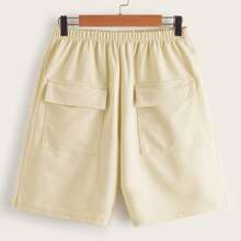 Flap Pocket Elastic Waist Bermuda Shorts