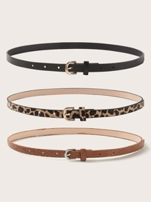 3pcs Leopard Pattern Buckle Belt
