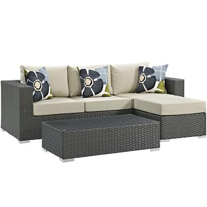 Sojourn Collection EEI-2384-CHC-BEI-SET 3 PC Outdoor Patio Sectional Set with Sunbrella  Fabric  Synthetic Rattan Weave  Powder Coated Aluminum Frame