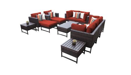 Barcelona BARCELONA-12h-BRN-TERRACOTTA 12-Piece Patio Set 12h with 4 Corner Chairs  2 Club Chairs  1 Armless Chair  1 Coffee Table  2 Ottomans  2 End
