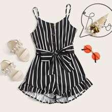 Maedchen Cami Jumpsuit mit Knopfen vorn, Raffung und Streifen