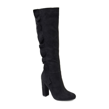 Journee Collection Womens Vivian-Xwc Dress Boots Block Heel Zip, 6 1/2 Medium, Black