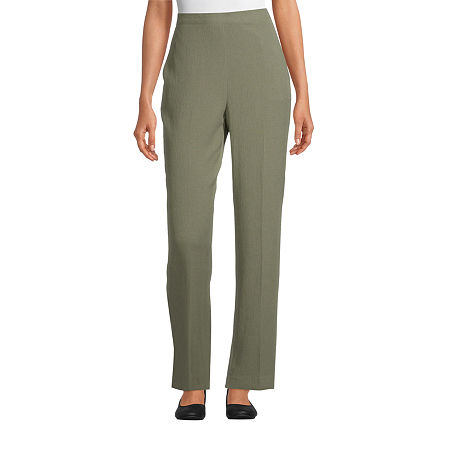 Alfred Dunner Palo Alto Womens Straight Flat Front Pant, 16 Short , Green