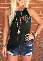 Leopard Mama Heart Halter Tank without Necklace - Black