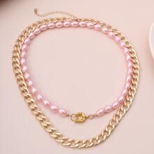 2 piezas collar con perla artificial