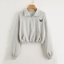 Zipper Half Placket Butterfly Embroidered Sweatshirt
