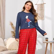 Schlafanzug Set mit Hase und Karo Muster
