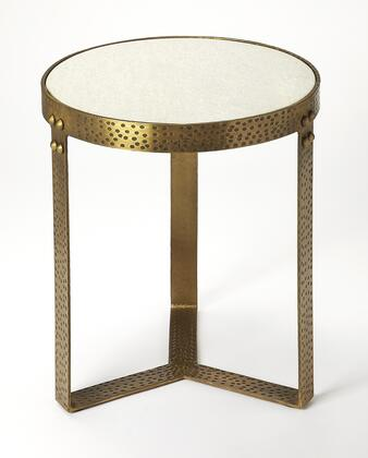 Elton Collection 5242389 End Table with Transitional Style  Round Shape and Iron Metal Material in Marble and Metal