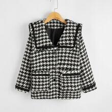 Mantel mit doppelten Taschen und Hahnentritt Muster