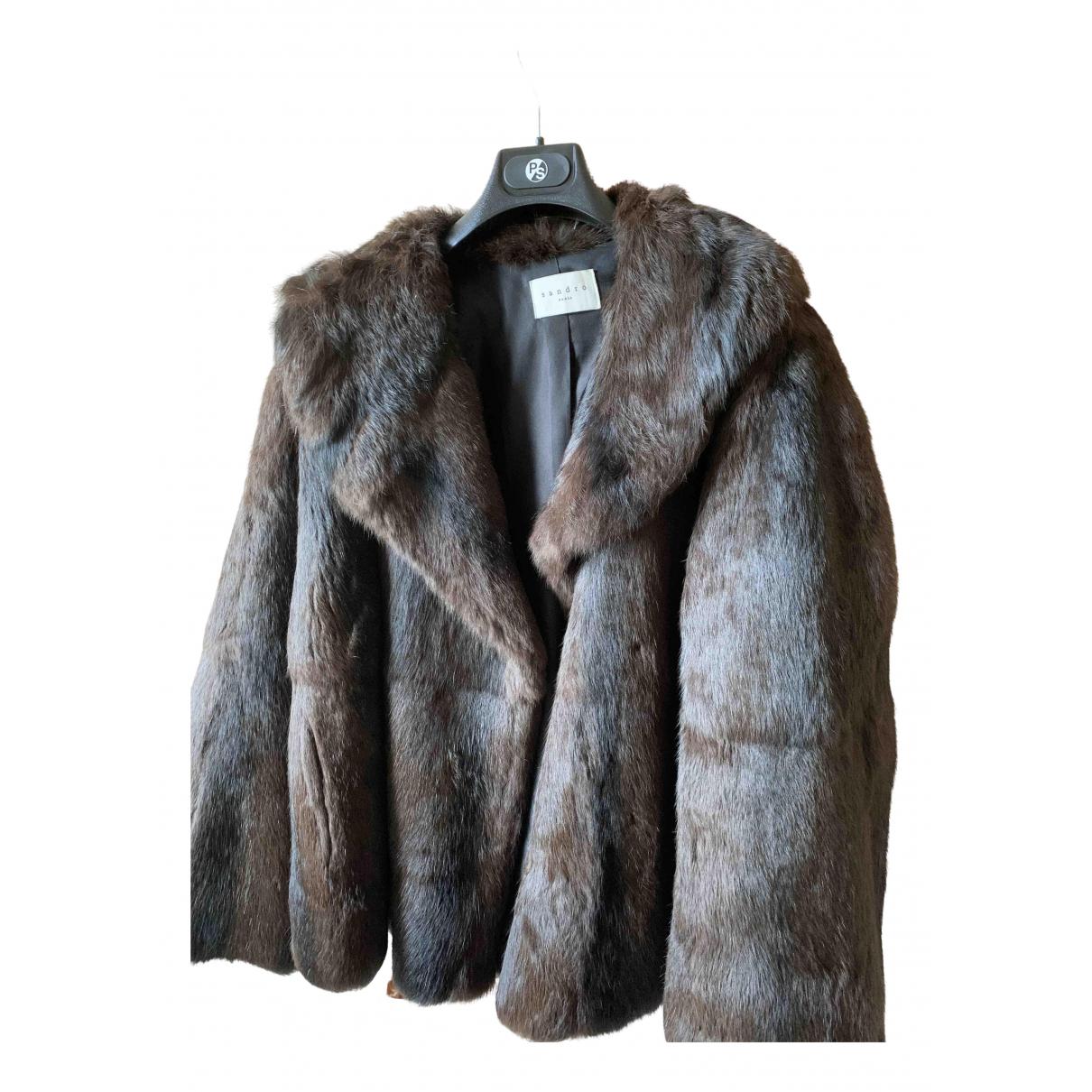 Sandro - Manteau   pour femme en lapin - marron
