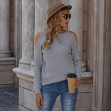 Cold Shoulder Pearls Beaded Sweater