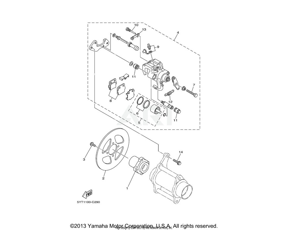 Yamaha OEM 1UY-25917-51-00 BOOT, CALIPER