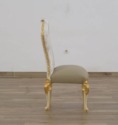 Bellagio Collection Luxury Side Chair  Mahogany Wood Solid  Hand Carved & Handcrafted  in Beige and Gold