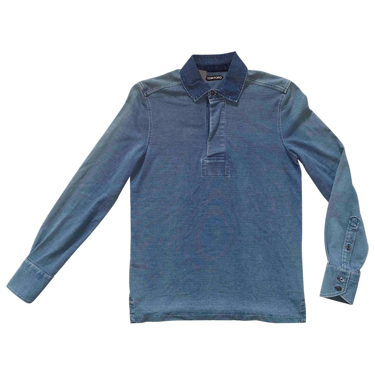 Polo en Algodon Azul Tom Ford