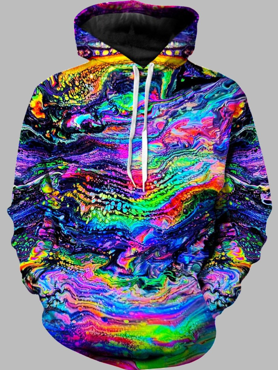 LW lovely Stylish Hooded Collar Print Multicolor Men Hoodie