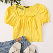 Frilled Puff Sleeve Ruched Bust Top